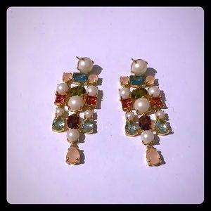 Kate Spade Pearl and Gem Chandelier Earrings